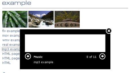 Multibox Supports Images, Flash, Video, MP3 and HTML