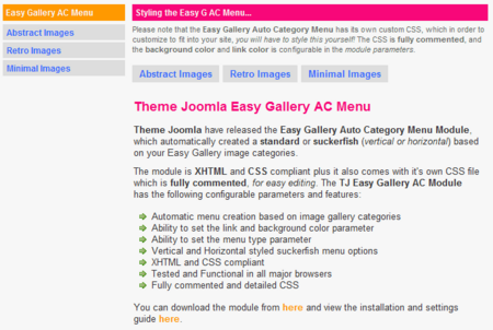 Theme Joomla Easy Gallery Auto Category Menu Module