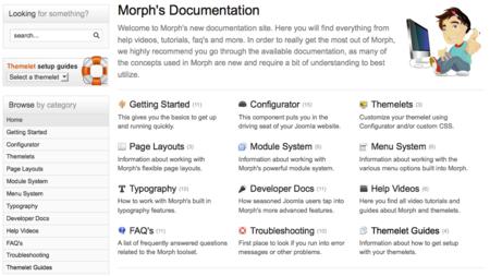 Documentation now available for the Morph framework/toolset for Joomla