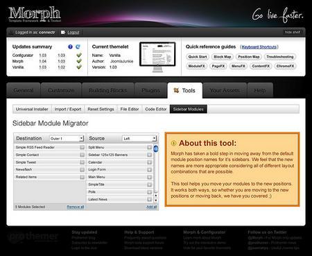 Preview: Sidebar Module Migrator tool