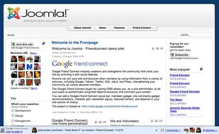 Google Brings Friend Connect, Social Features to Joomla