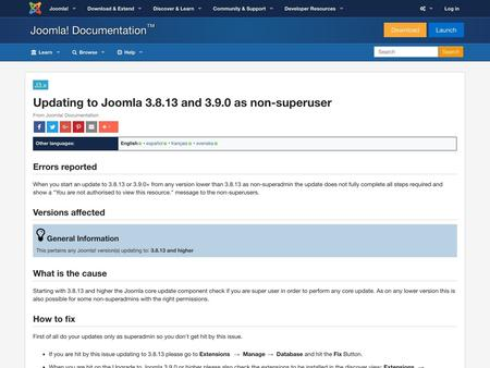 Updating to Joomla 3.8.13 and 3.9.0 as non-superuser