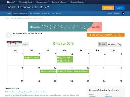 Google Calendar for Joomla