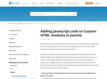 Adding Javascript code to Custom HTML modules in Joomla