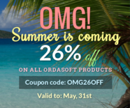 Summer is coming: 26% off on all OrdaSoft products