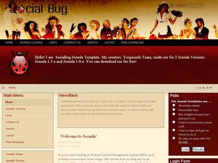 Social Bug - Free Joomla Template