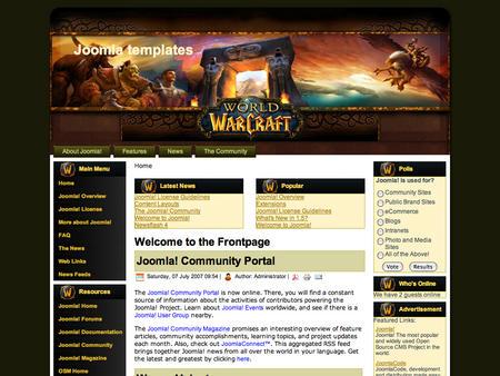 Игровой шаблон сайта joomla!, по игре world of warcraft