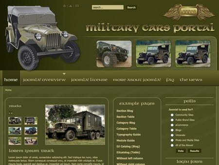 joomla template dj military cars
