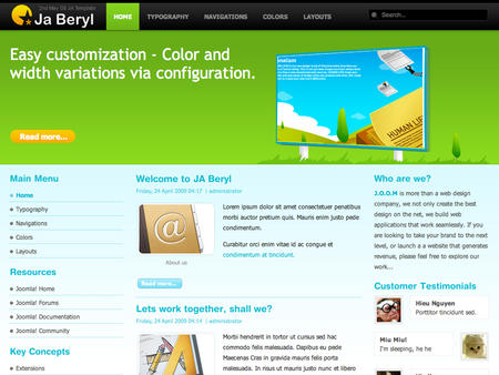 JA Beryl - Bring more web 2.0 beauty into Joomla